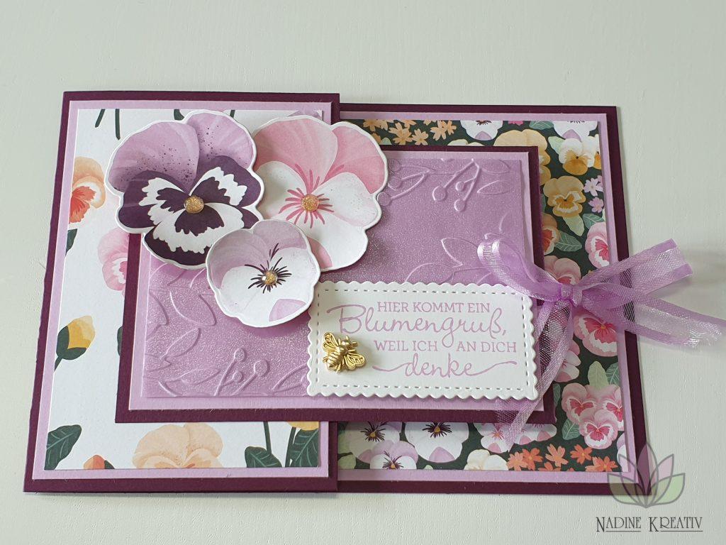 """Stilvolle Karte """"Stiefmütterchen"""" 21"""