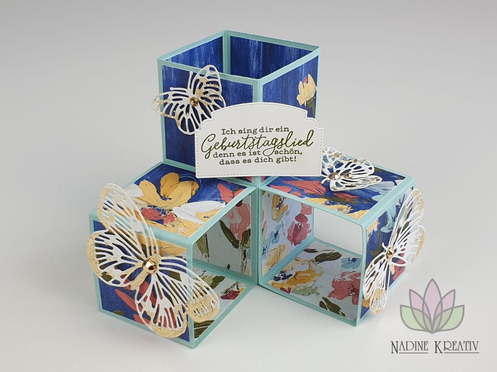 "Triple Pop-up Cube Card ""Kunstvoll Floral"" 1"