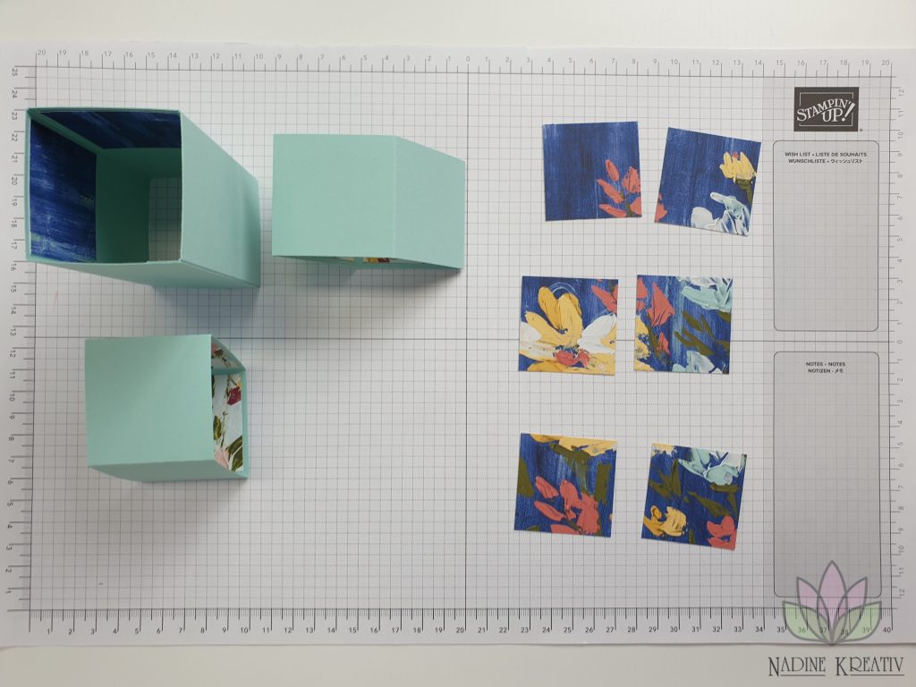 "Triple Pop-up Cube Card ""Kunstvoll Floral"" 9"