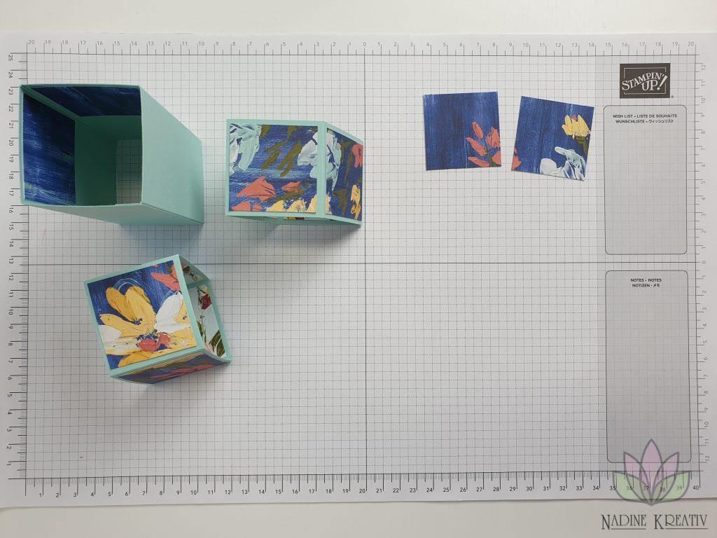 "Triple Pop-up Cube Card ""Kunstvoll Floral"" 10"