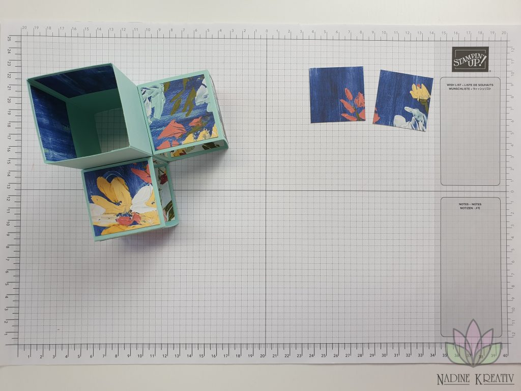 "Triple Pop-up Cube Card ""Kunstvoll Floral"" 11"