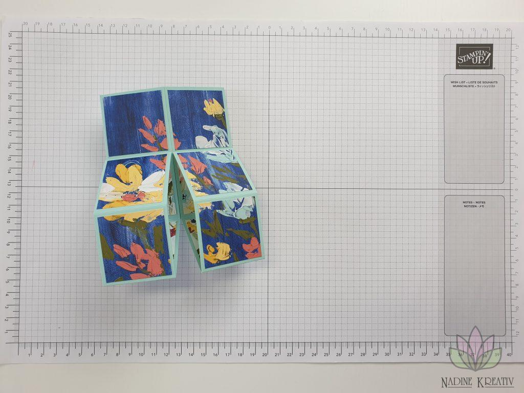 "Triple Pop-up Cube Card ""Kunstvoll Floral"" 12"