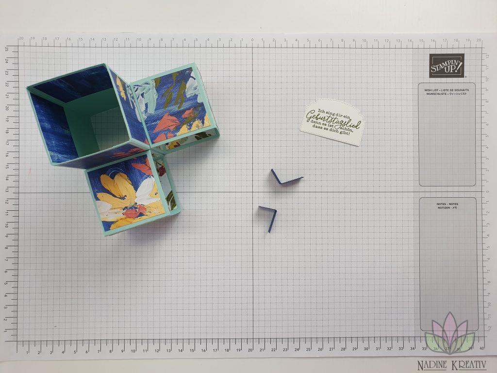 "Triple Pop-up Cube Card ""Kunstvoll Floral"" 14"