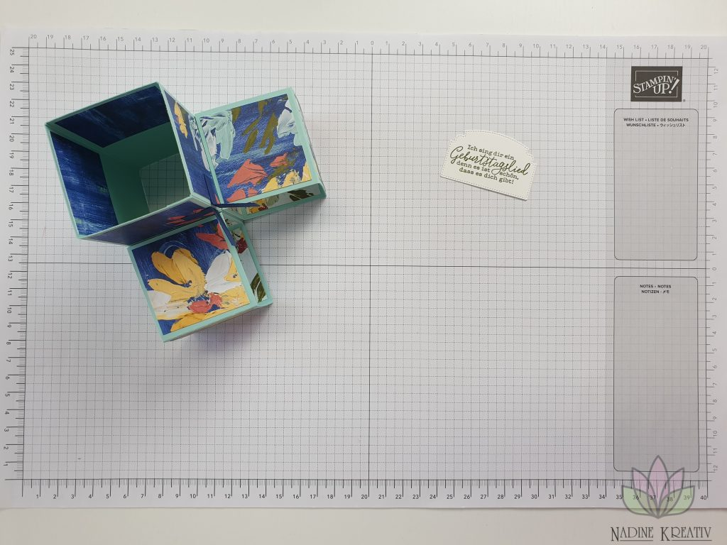"Triple Pop-up Cube Card ""Kunstvoll Floral"" 15"