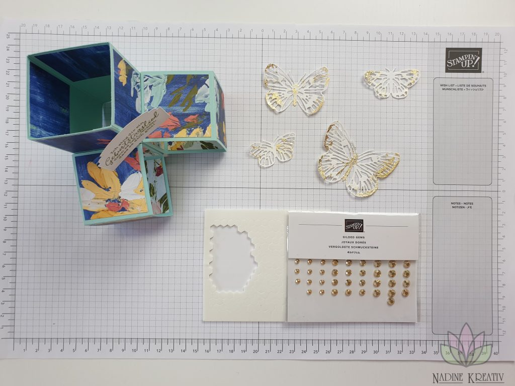 "Triple Pop-up Cube Card ""Kunstvoll Floral"" 19"
