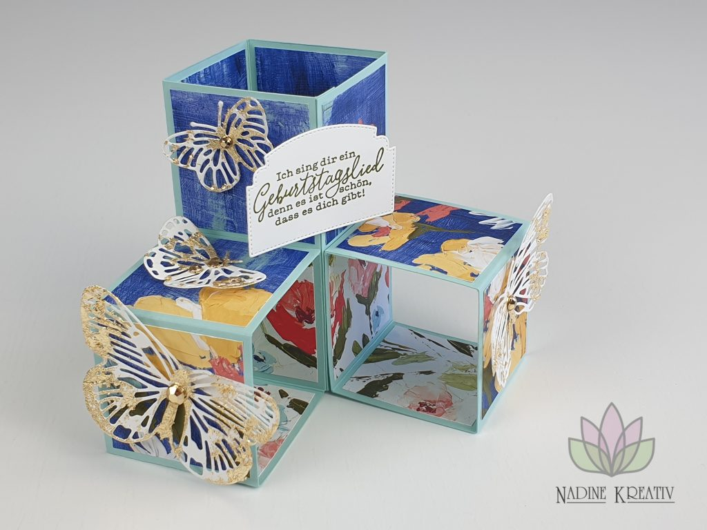 "Triple Pop-up Cube Card ""Kunstvoll Floral"" 22"