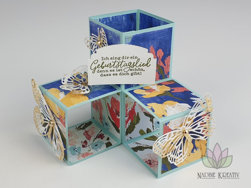 "Triple Pop-up Cube Card ""Kunstvoll Floral"" 24"