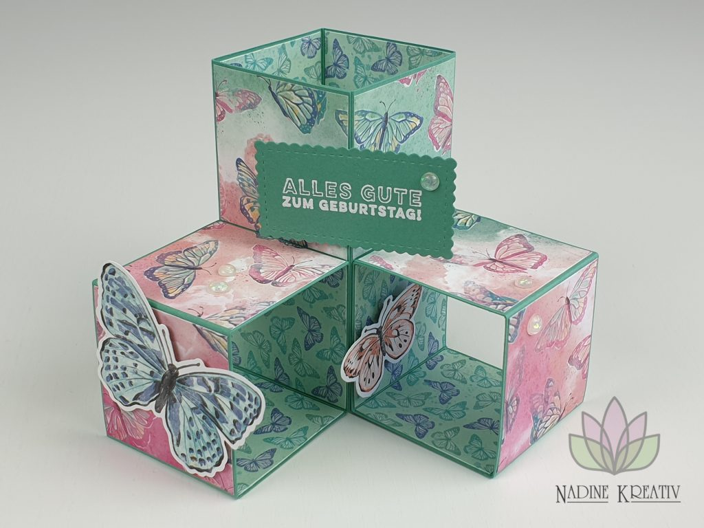 "Triple Pop-up Cube Card ""Kunstvoll Floral"" 25"