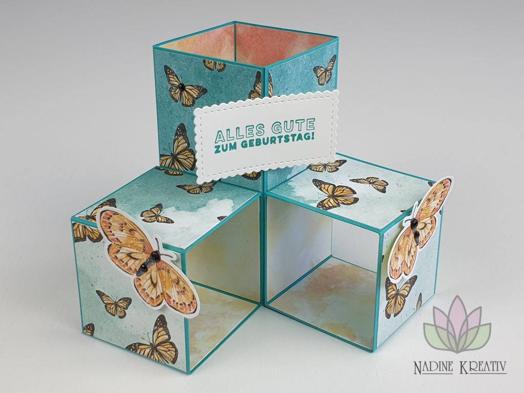 "Triple Pop-up Cube Card ""Kunstvoll Floral"" 26"