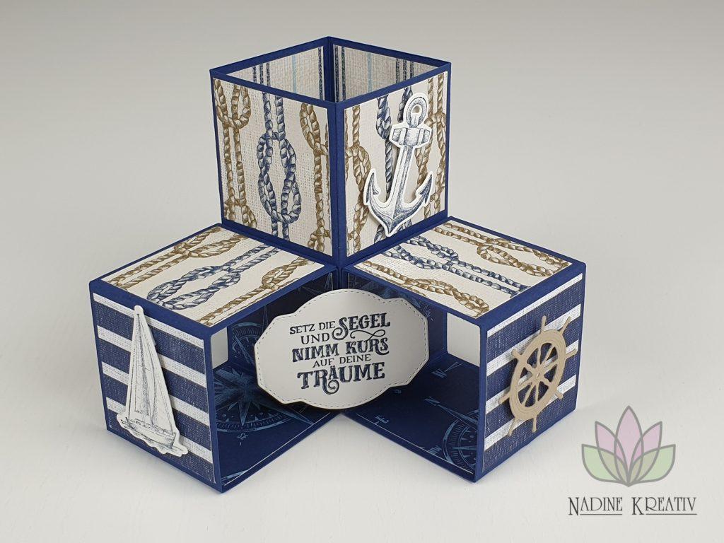 "Triple Pop-up Cube Card ""Kunstvoll Floral"" 27"